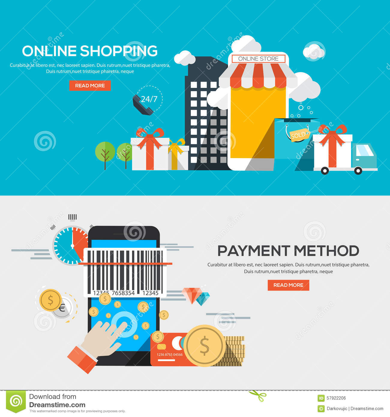 Online Shopping Mode Of Payment Flat Design Illustration Concepts Stock Vector Image
