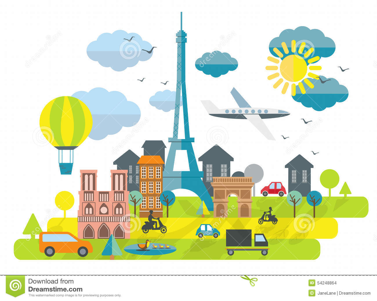 Design France Flat Design Illustration With Eiffel Tower In Paris Town