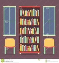 Flat Design Reading Seats And Bookcase Stock Vector ...