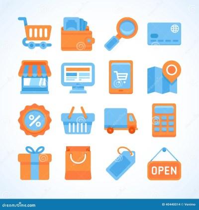 Flat Icon Set Of Shopping Symbols Stock Vector - Image ...