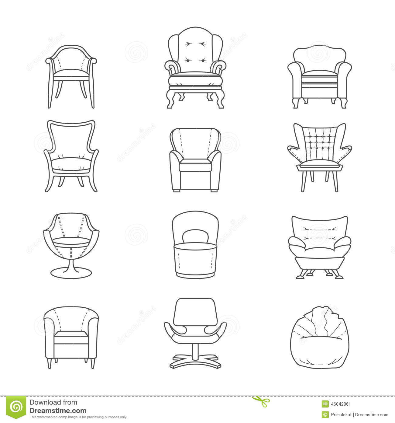 Lounge Sessel Dwg Flat Line Armchair Vector Isolated Icons Set Stock Vector