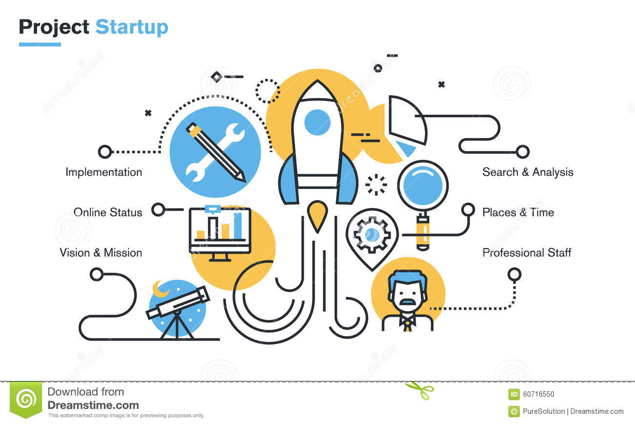 Online Business Ideen Flat Line Design Illustration Of Project Startup Process