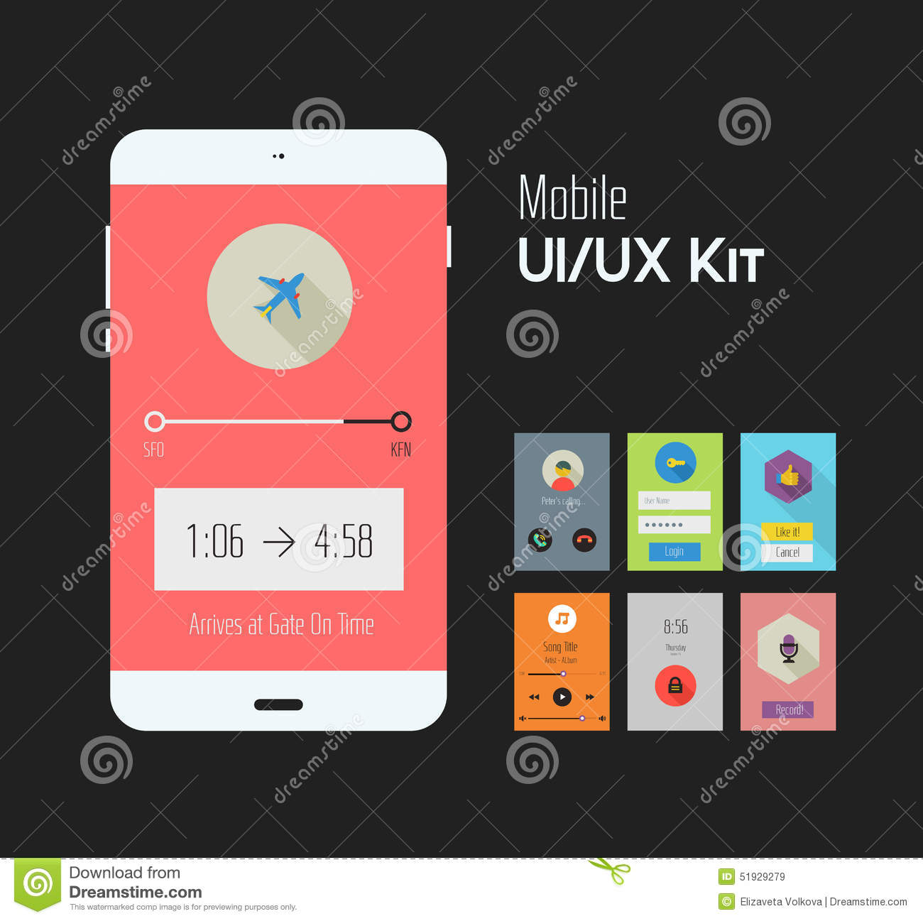 Möbel Modern Design Flat Ui Or Ux Mobile Apps Kit Stock Illustration Illustration Of