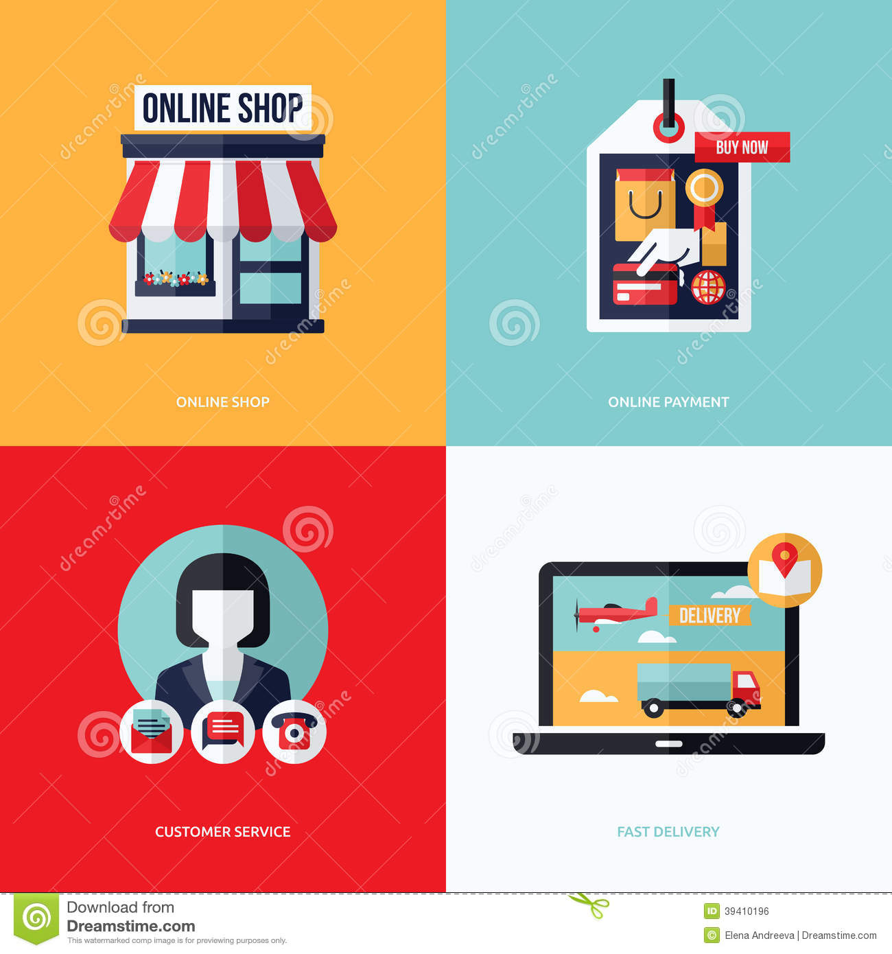 Design Online Shop Flat Vector Design With E Commerce And Online Shopping Icons Stock
