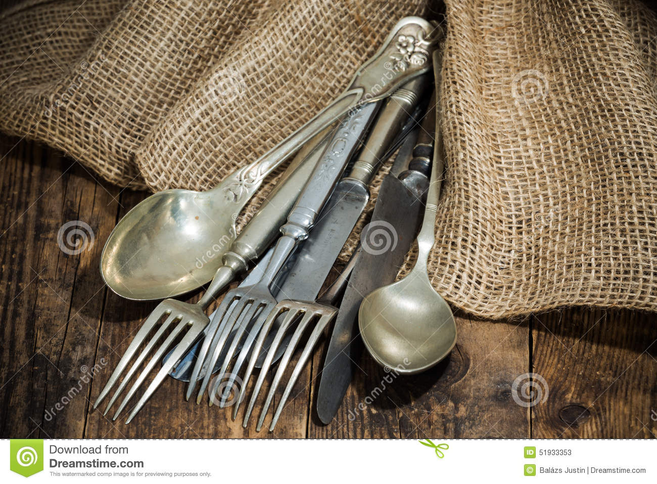 Rustic Silverware Flatware The Old Wooden Table With A Rustic Style Stock