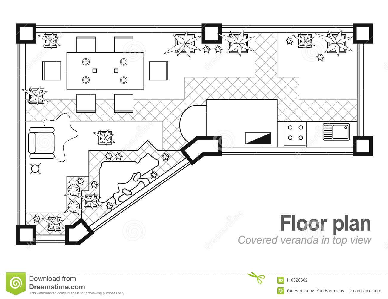 Plan Veranda Floor Plan Top View The Cottage Is A Covered Veranda Layout Of