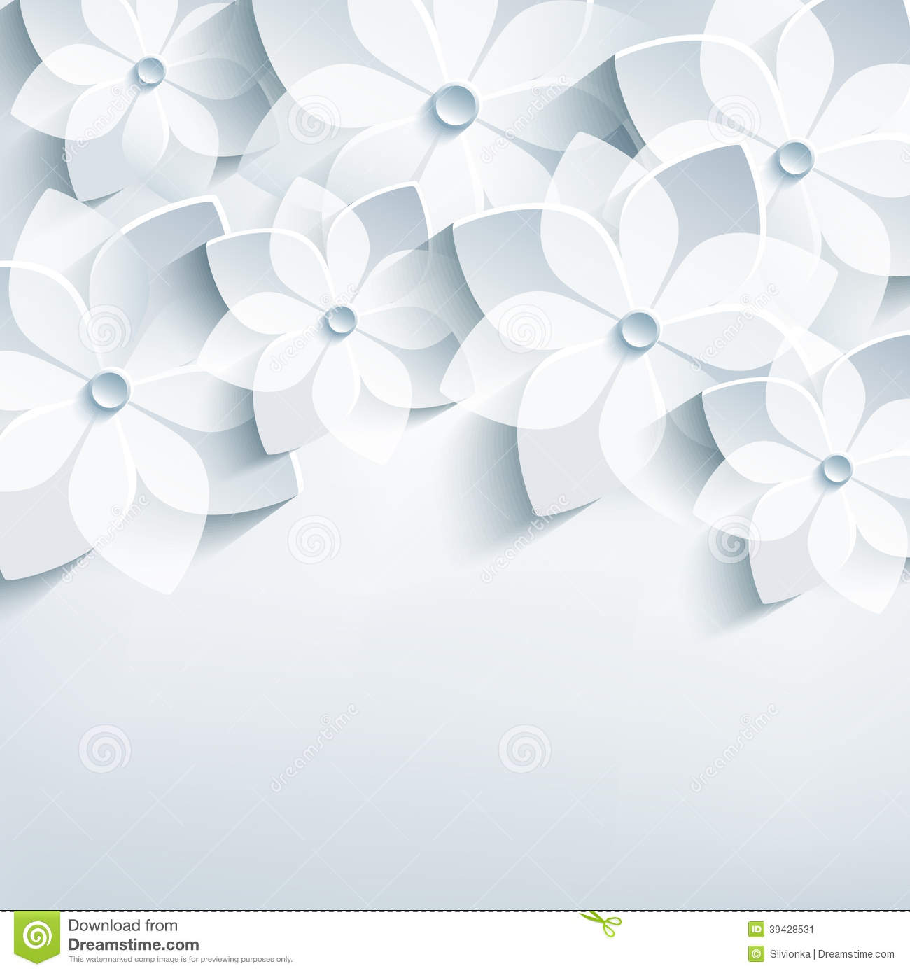 Floral abstract background 3d stylized flowers sa stock vector