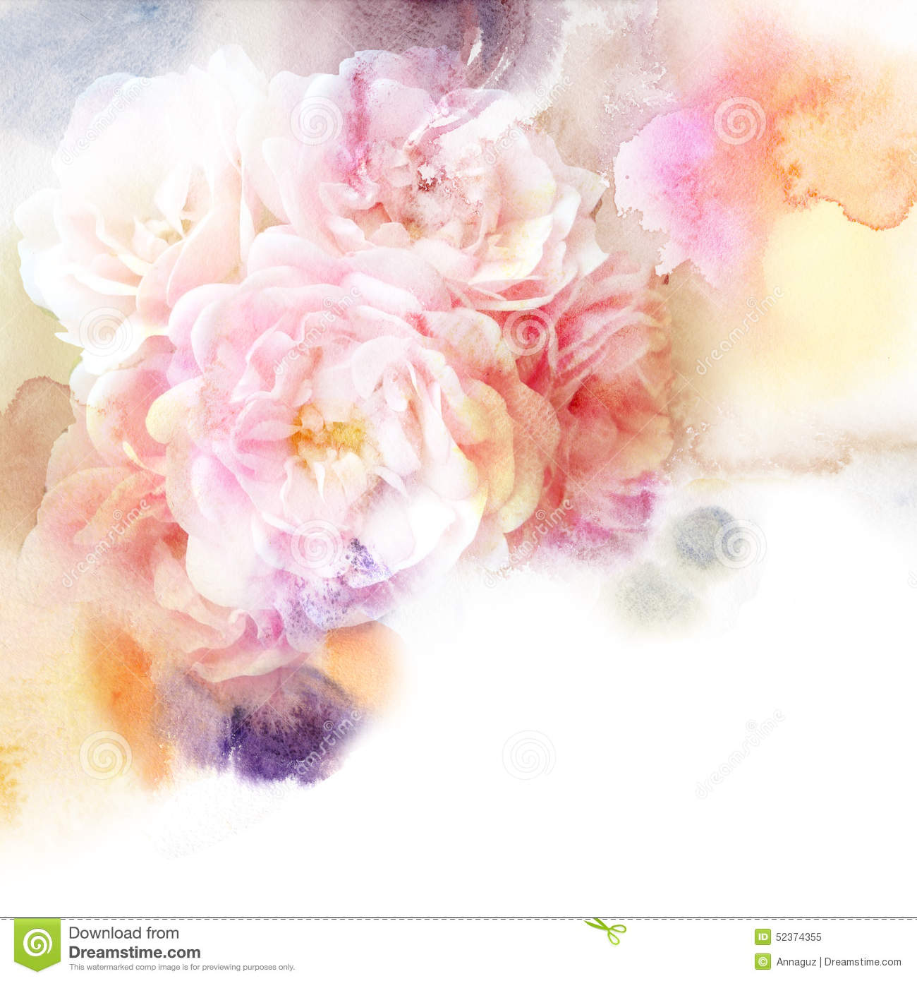 Peonies Wallpaper Iphone 6 Floral Watercolor Background With Beautiful Flowers Stock