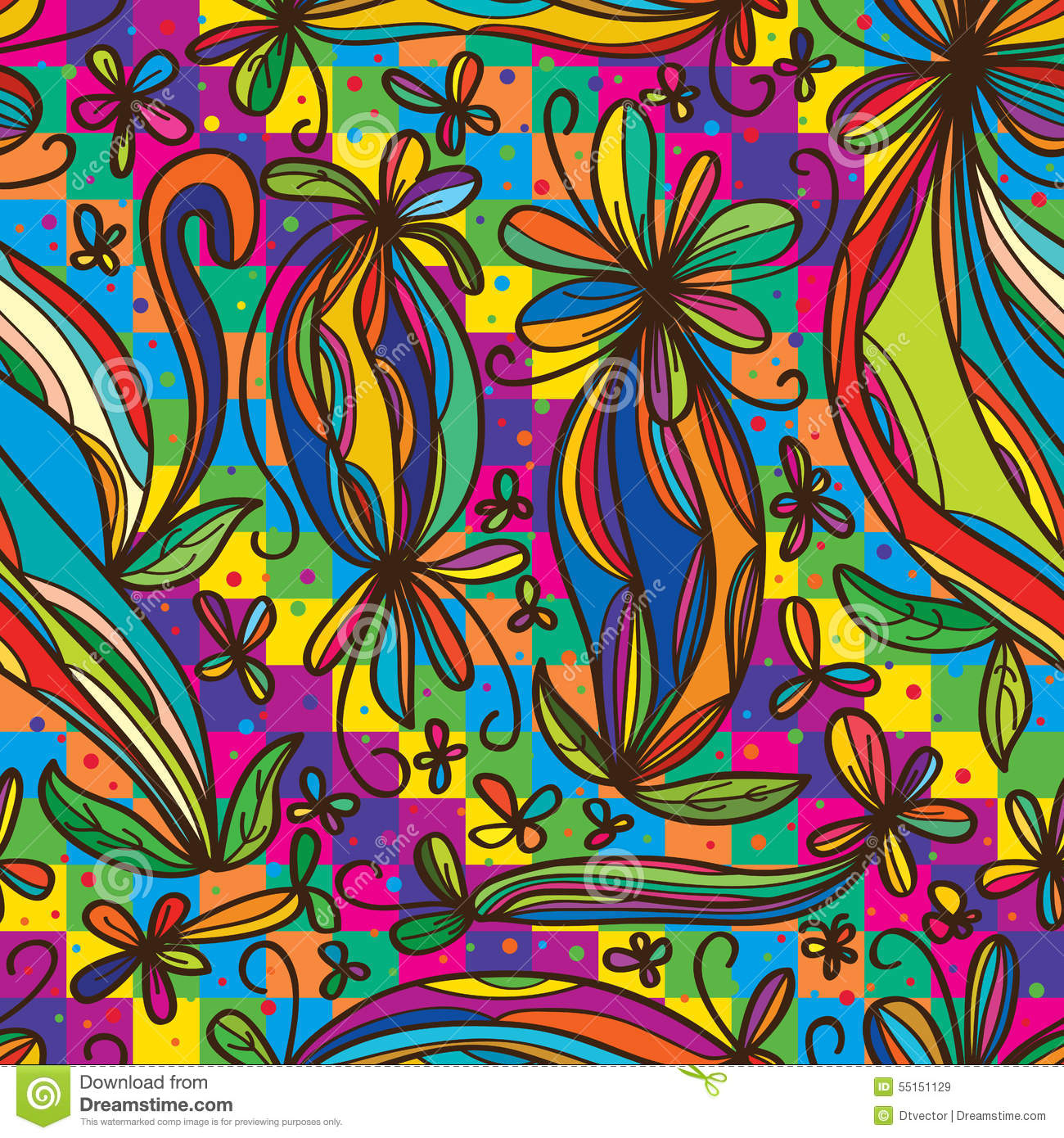 Imaginary Wallpapers Hd Flower Curl Draw Rainbow Colorful Seamless Pattern Stock