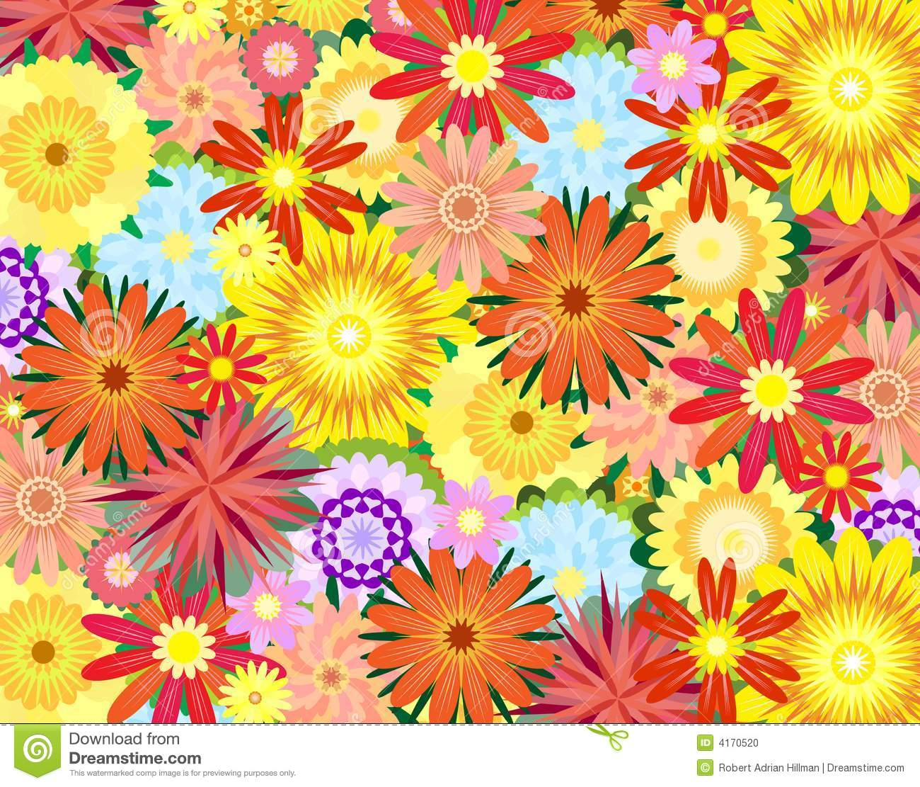 3d Colourful Wallpaper Flower Power Stock Photo Image 4170520