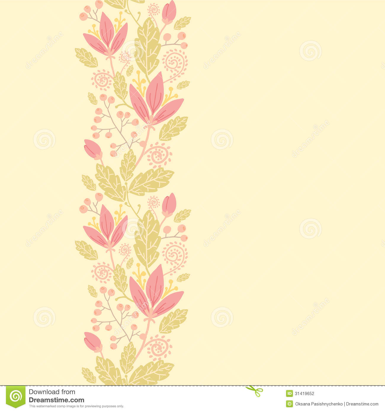 Fall Leaves Falling Wallpaper Flowers And Berries Vertical Seamless Pattern Stock