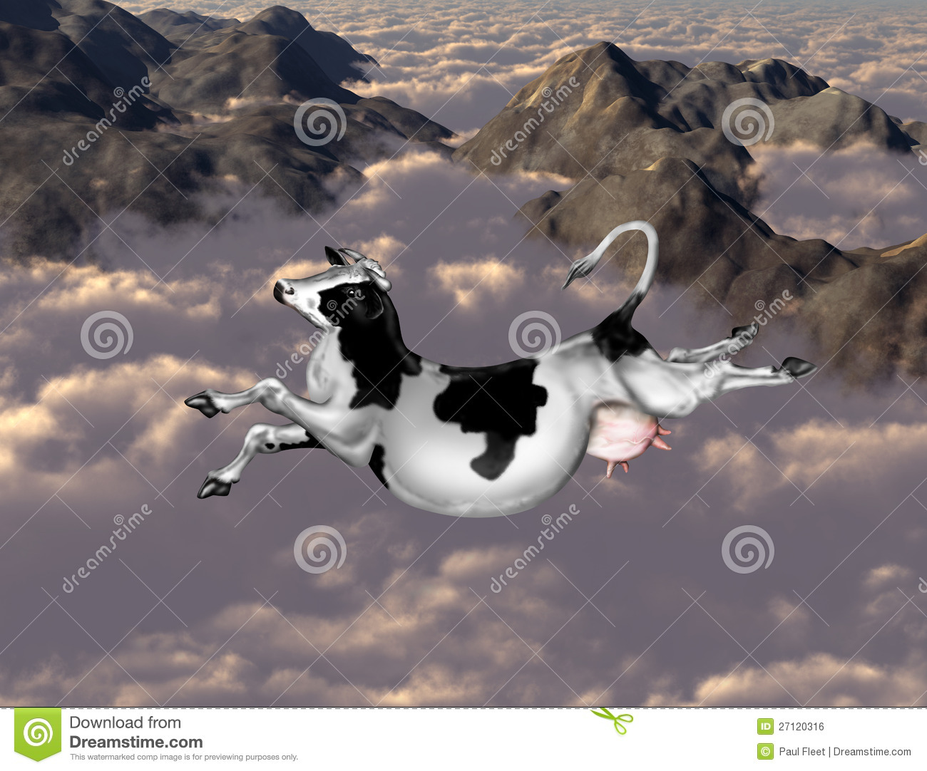 3d Wallpaper Clouds Flying Cow Royalty Free Stock Image Image 27120316
