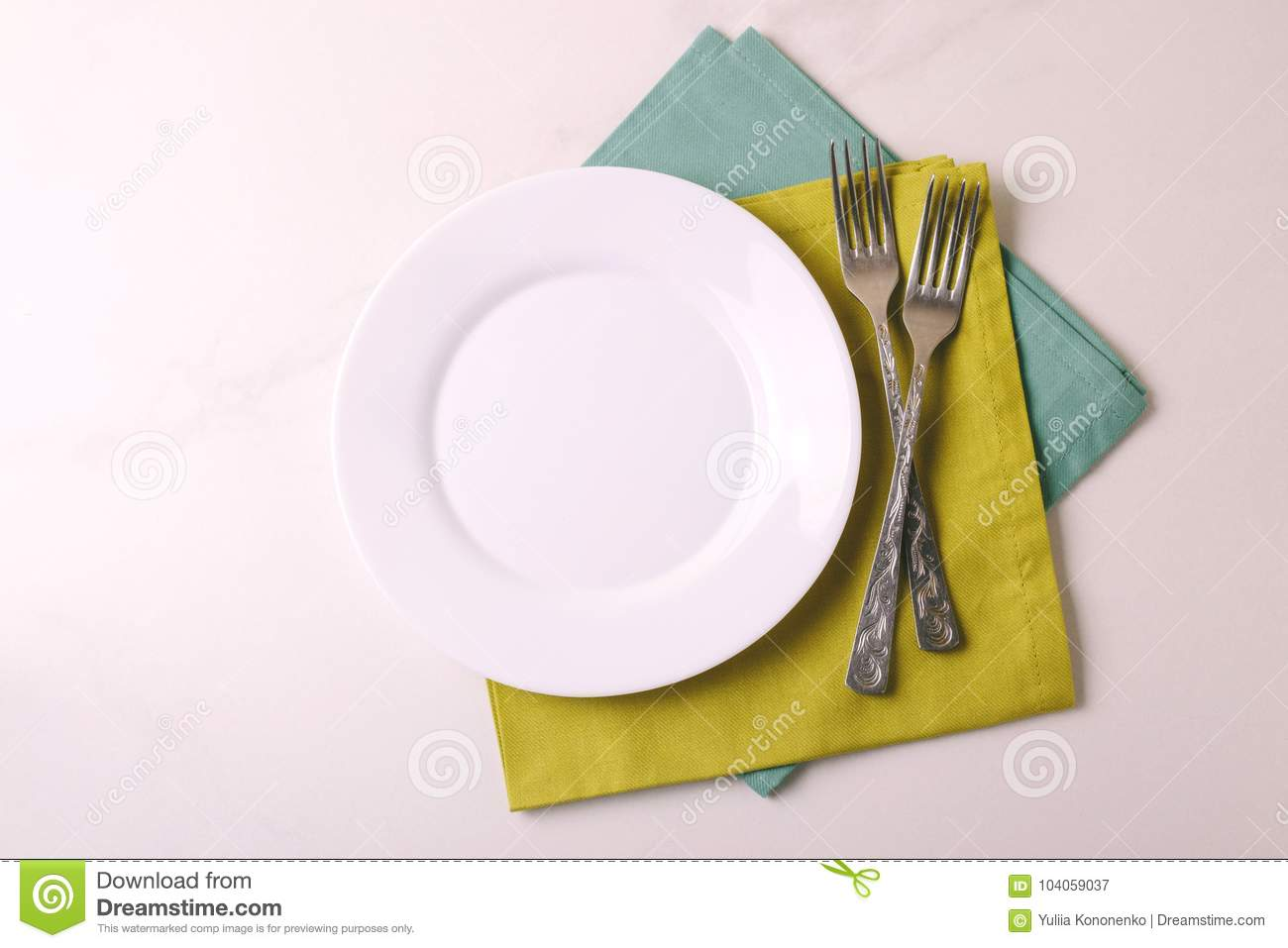 Plate With Food Top View Food Background White Empty Plate Cutlery Napkin Top