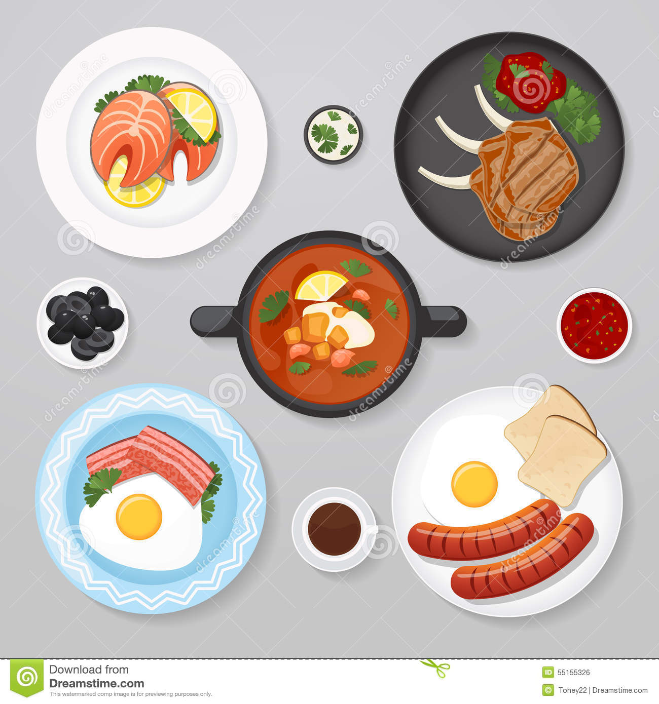 Plate With Food Top View Food Business Flat Lay Idea Stock Vector Image 55155326