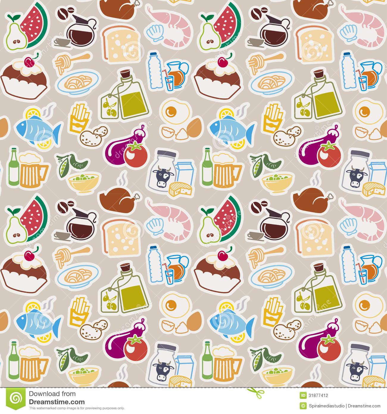 Cute Bakery Wallpaper Food Pattern Stock Vector Image Of Greengrocers Olive