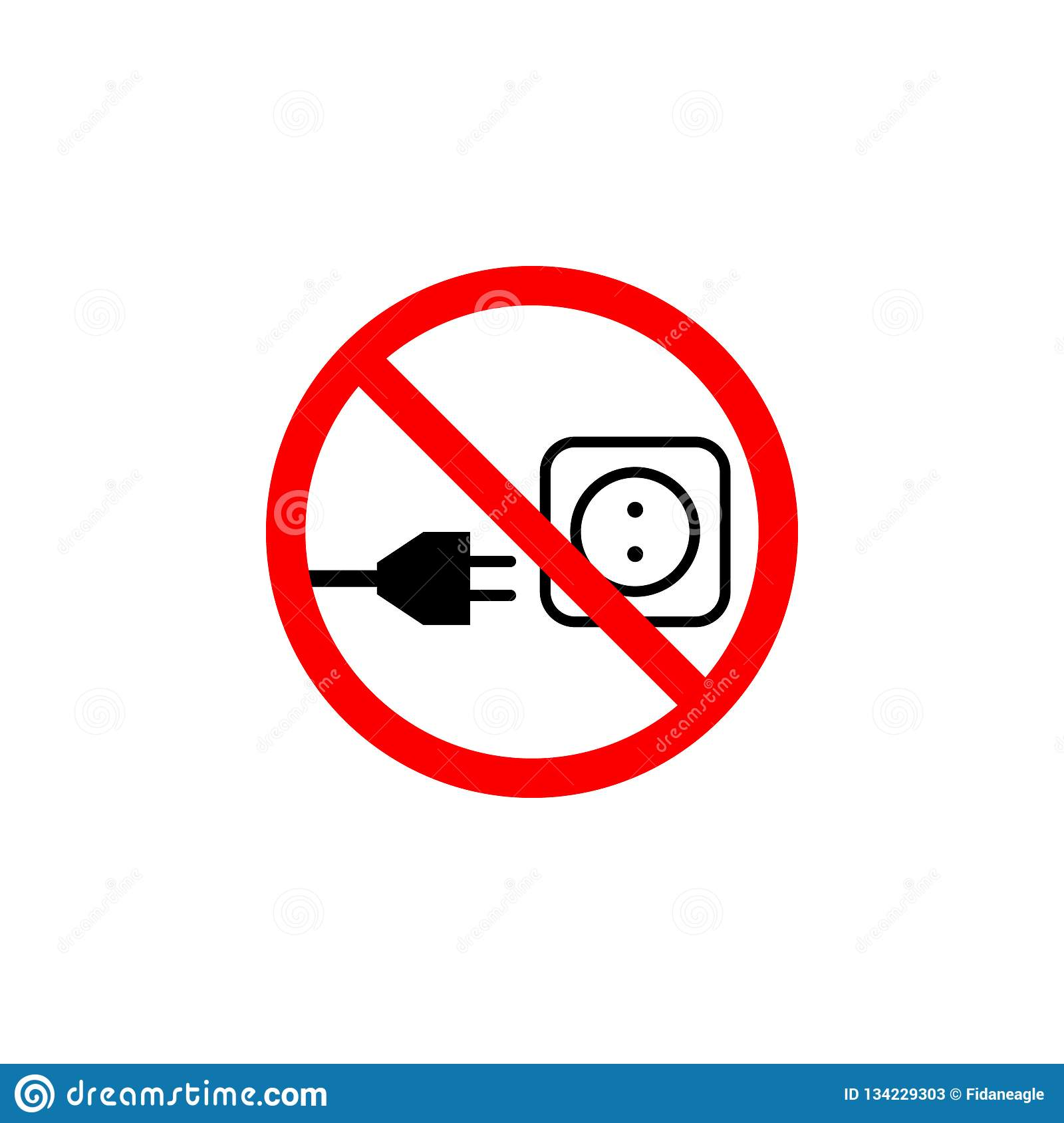 Ux Plug Forbidden Electric Plug Icon On White Background Can Be Used For
