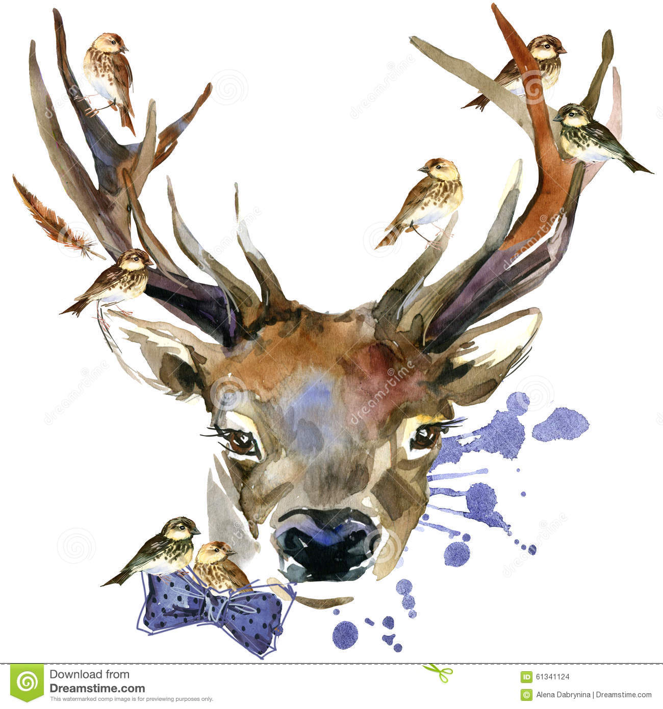 Cute Moose Wallpaper Forest Deer And Birds T Shirt Graphics Deer Illustration