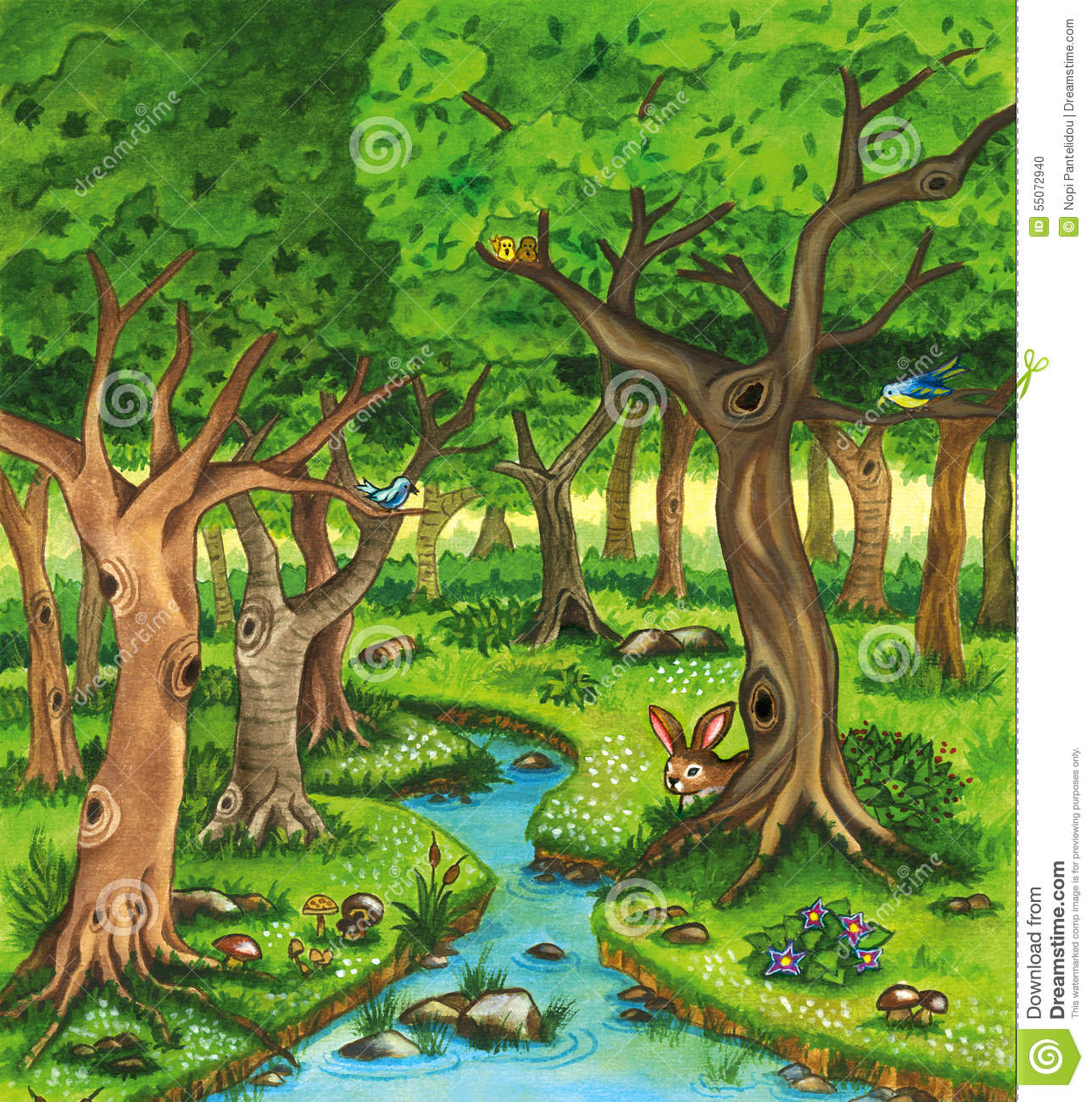 Colorful Animal Print Wallpaper Forest Watercolor Illustration With Trees And River Stock