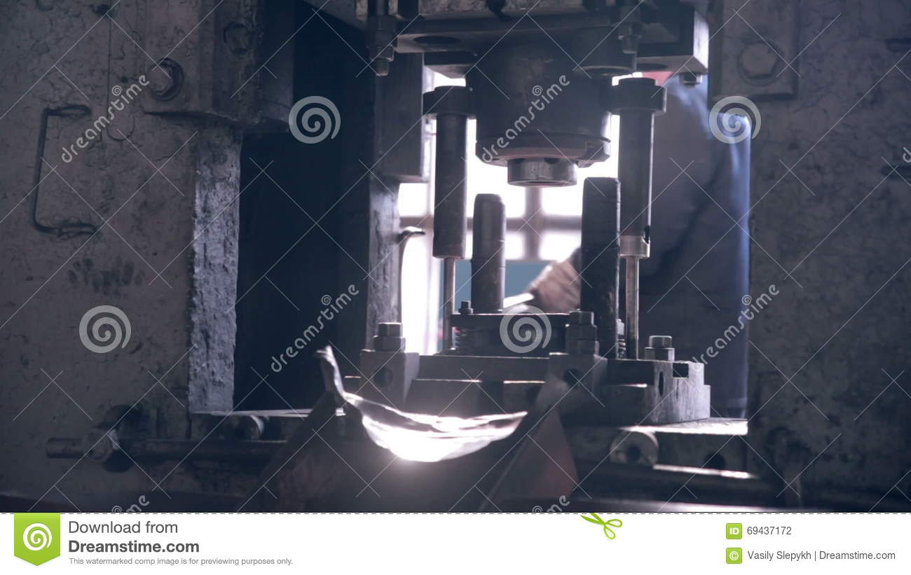 Industrial Forging Forging Steel Machine Inside Industrial Plant Stock Footage