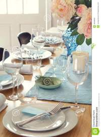 Formal Dinner Table Setting At Home Stock Photo - Image ...