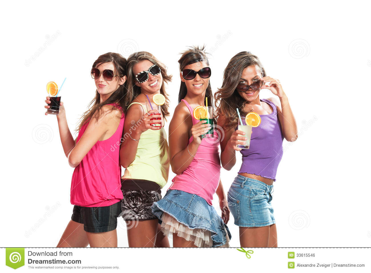 Girl Glasses Wallpaper Four Girls Fun With A Drink Royalty Free Stock Image