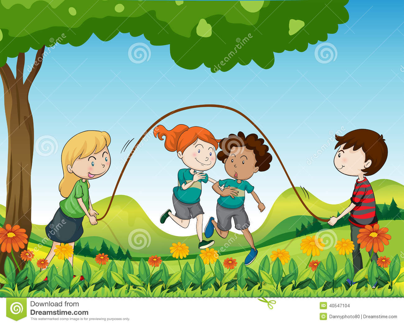 Cute Baby Girl Swing Hd Wallpaper Four Kids Playing Under The Tree Stock Vector Image