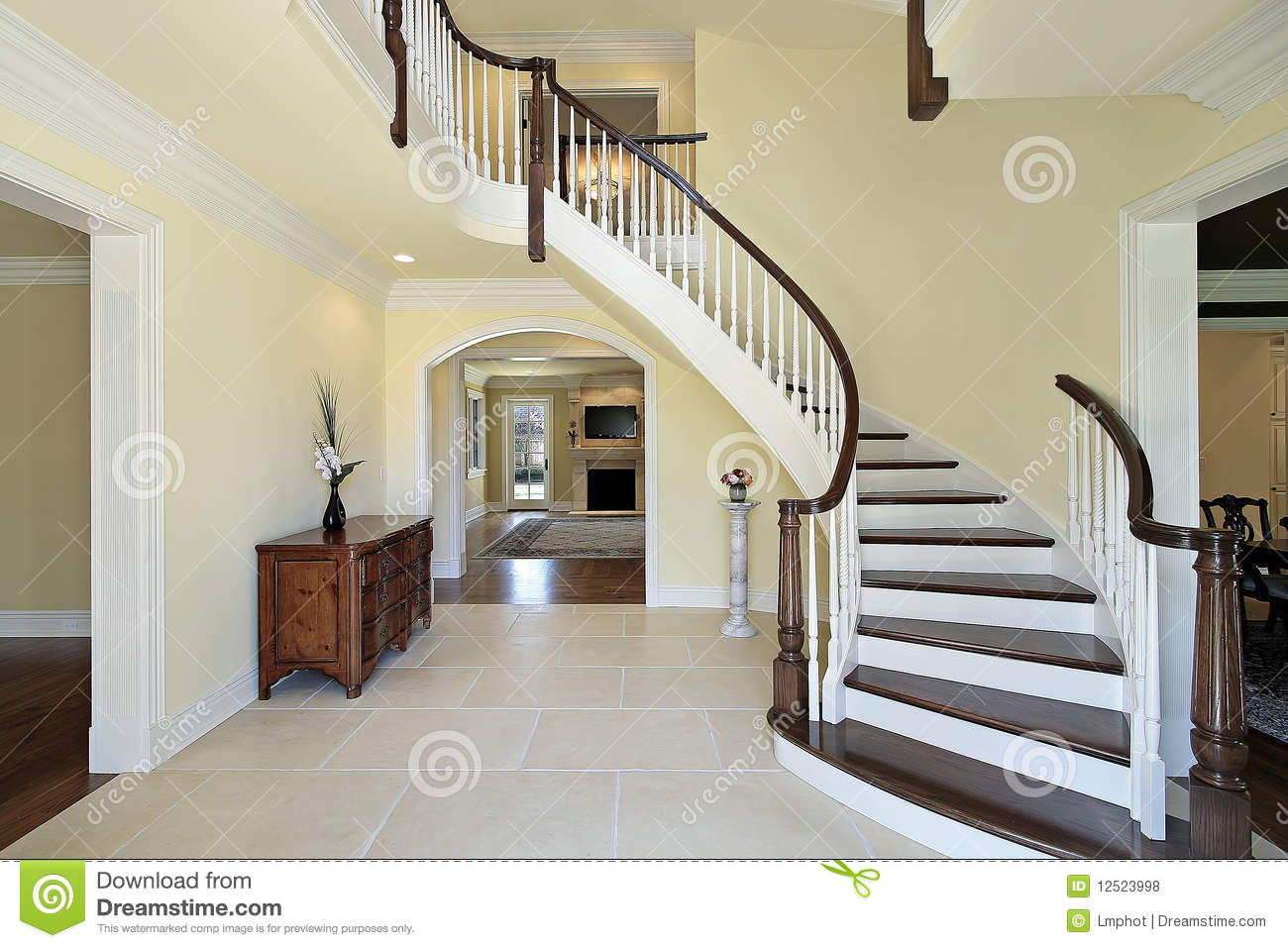 3d Brick Wallpaper Philippines Foyer With Curved Staircase Stock Photo Image Of Room