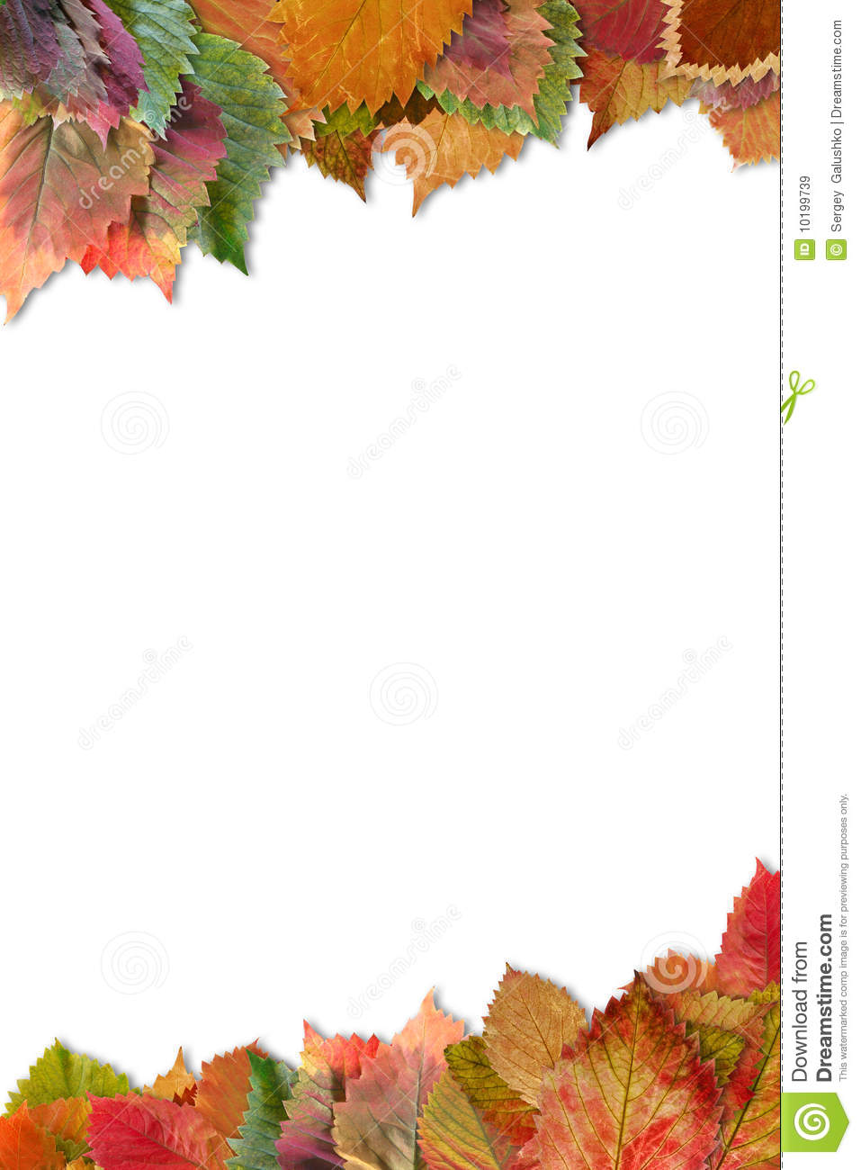 Wallpaper Border Falling Off Frame From Autumn Leaves With Shadow Stock Image Image