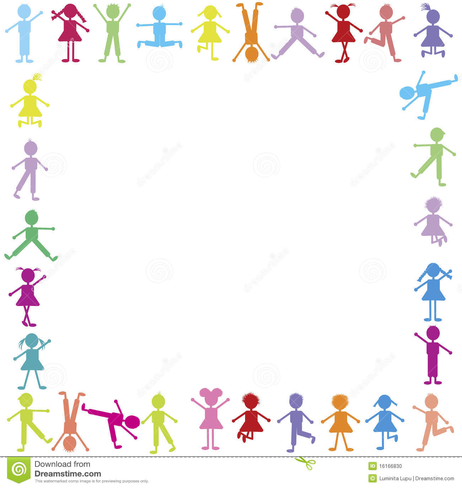 Cute Toddlers Playing Cartoon Wallpaper Frame Feliz Colorido Das Crian 231 As Ilustra 231 227 O Stock