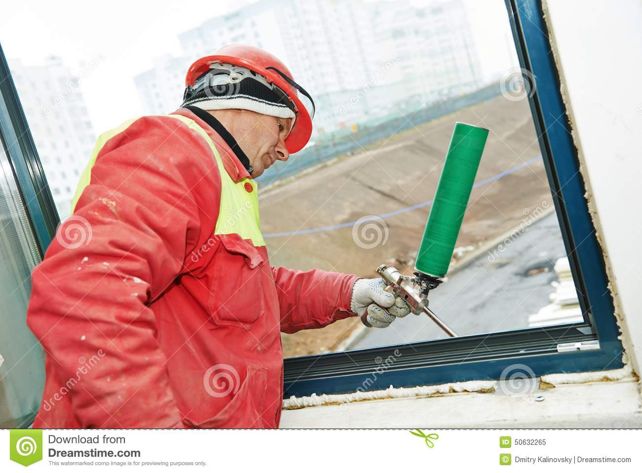 How To Insulate Windows Frame Insulation At Windows Installation Stock Image Image Of