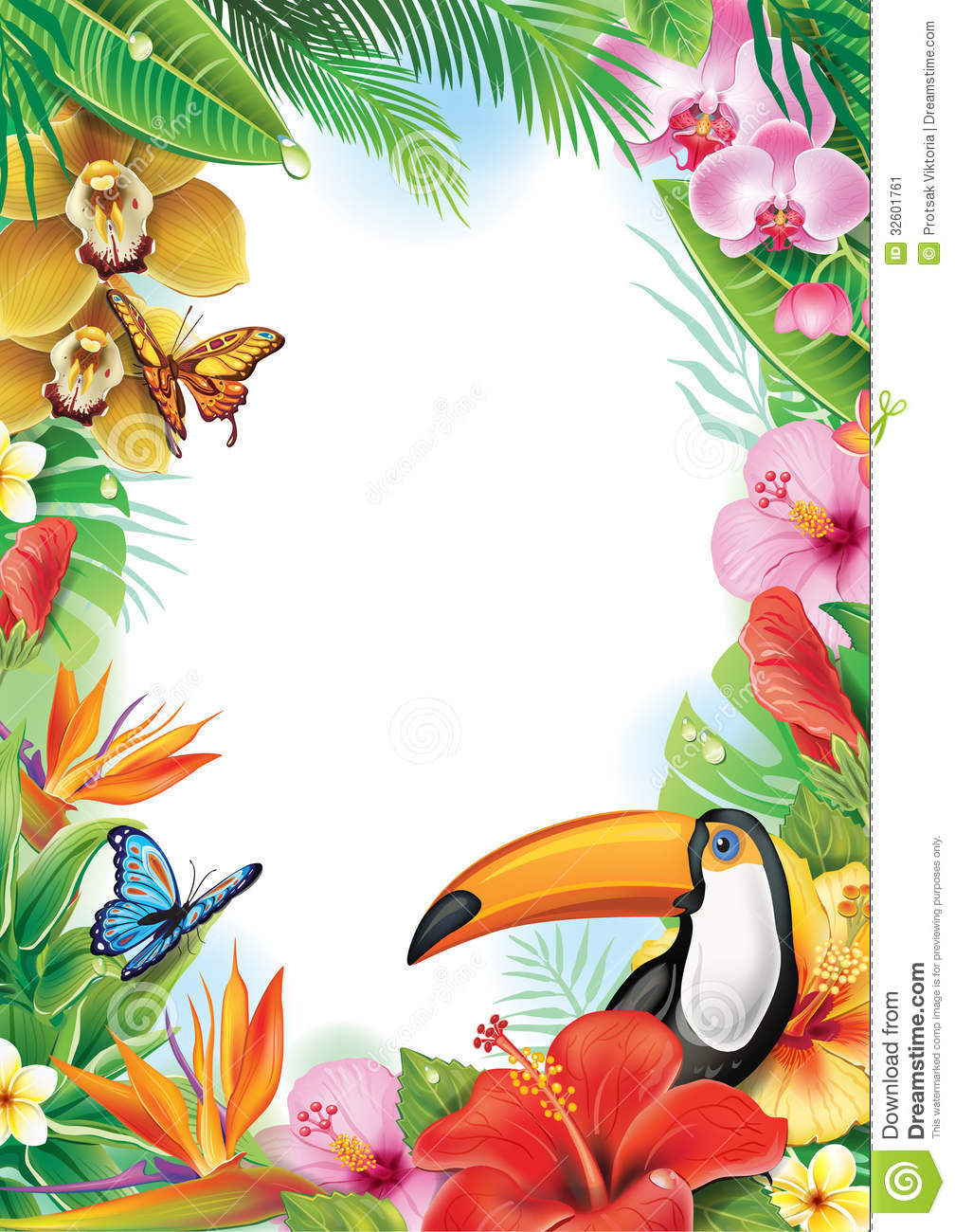 Exotic Animal Wallpaper Frame With Tropical Flowers And Toucan Stock Vector