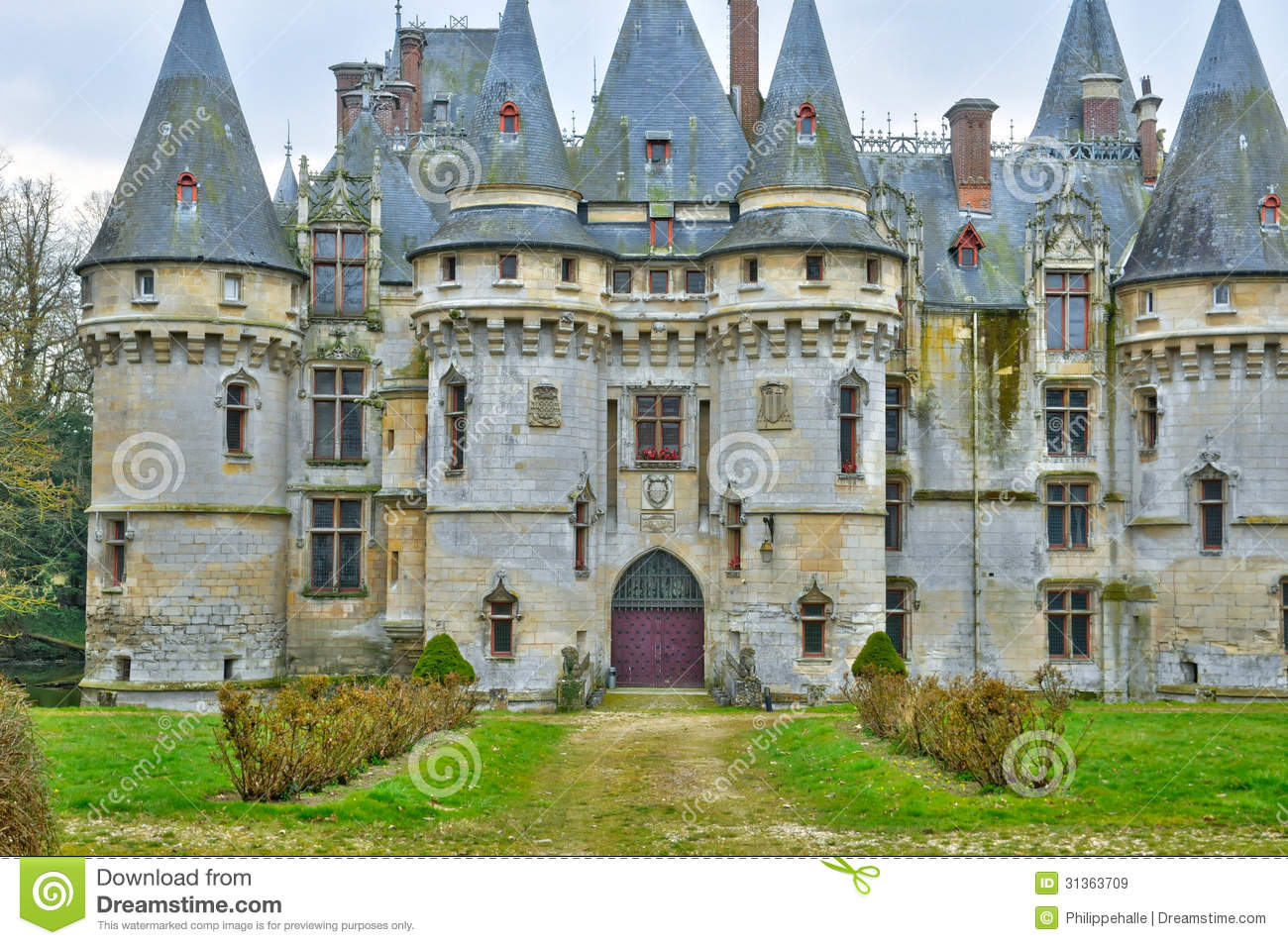 France The Castle Of Vigny In Val D Oise Stock Image - Cheminées Val D Oise