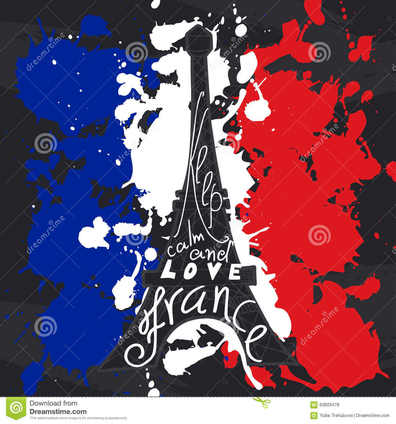 Design France France Graphic Typographic Card Design Vector Art With