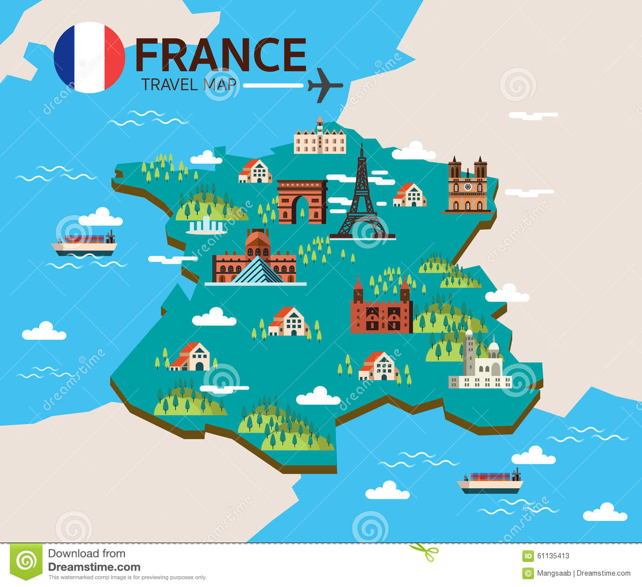 Design France France Landmark And Travel Map Stock Vector Image 61135413