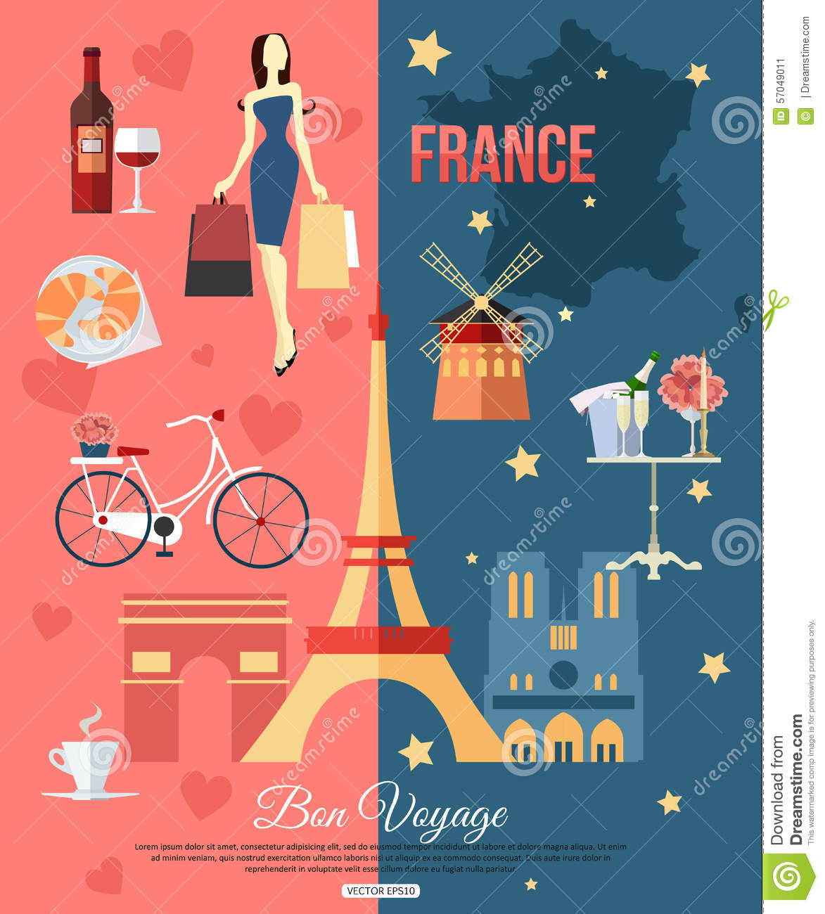 Design France France Travel Background With Place For Text Set Stock