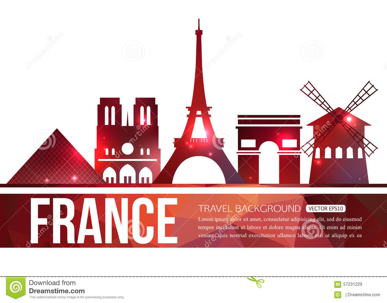Design France France Travel Background With Place For Text Stock Vector