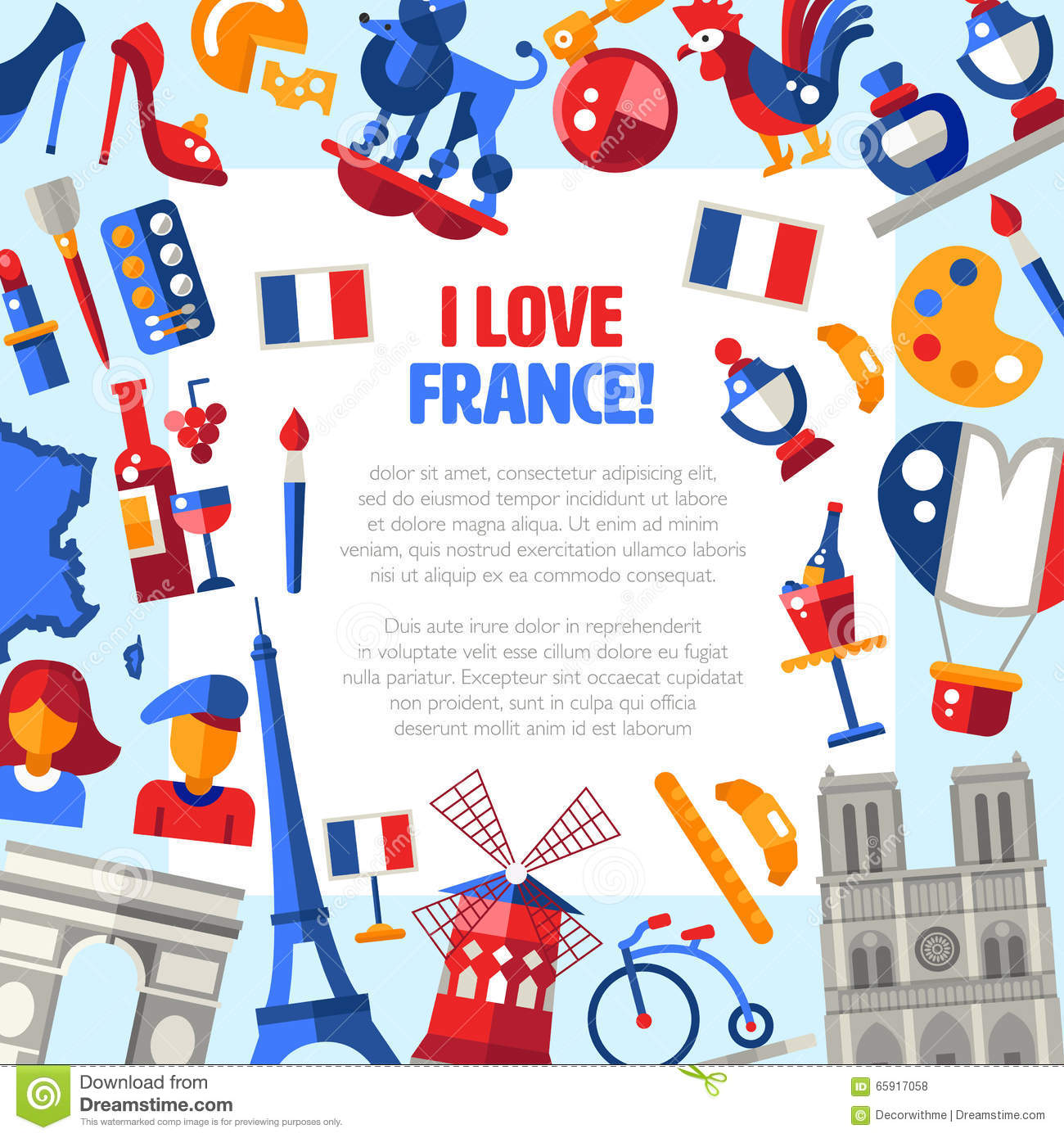 Design France France Travel Icons Circle Postcard With Famous French