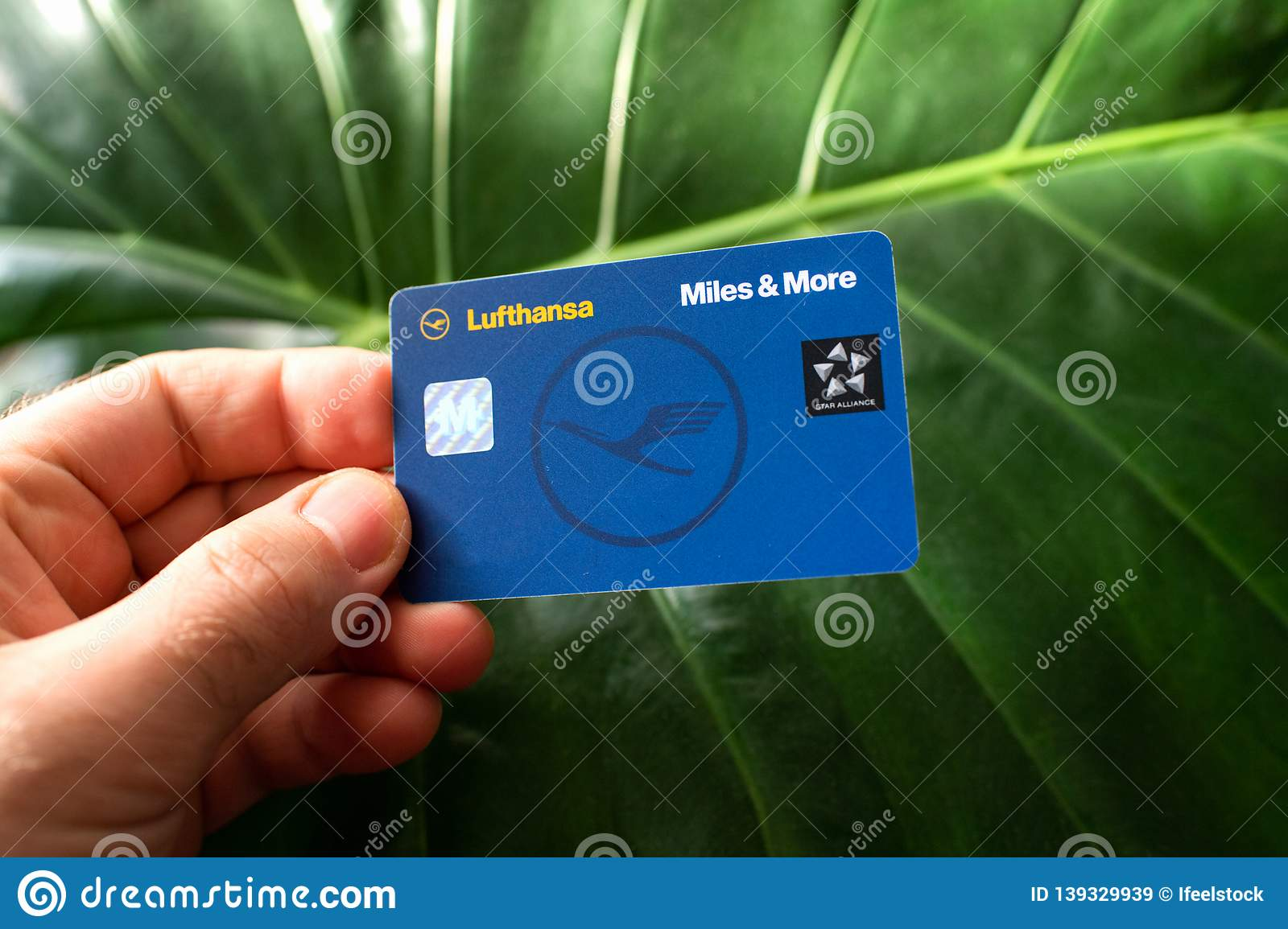 Miles And More Business Male Hand Holding Miles And More Membership Lufthansa Card