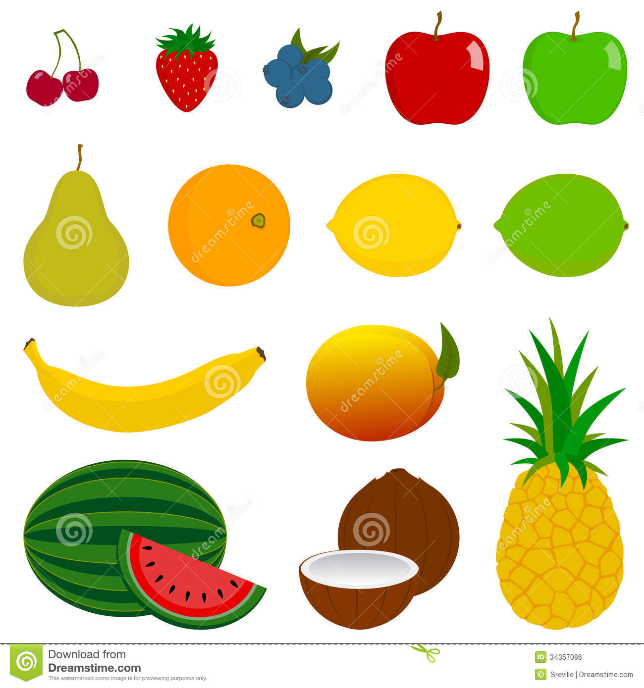 Watermelon Wallpaper Cute One 14 Fresh Fruit Icons Stock Vector Illustration Of