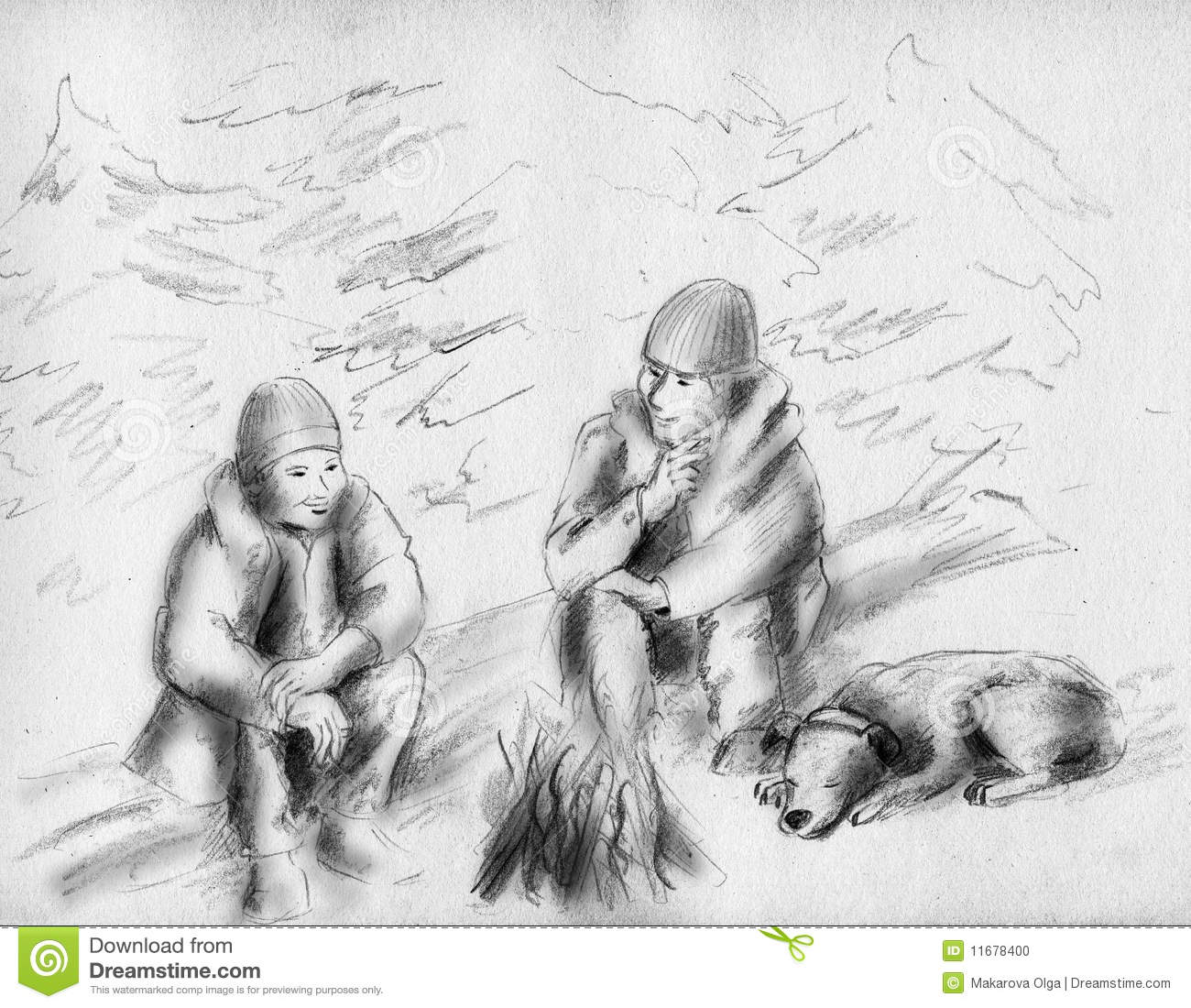 Cute Wallpapers Puppy Drawing Friends Near The Fire Stock Photo Image 11678400