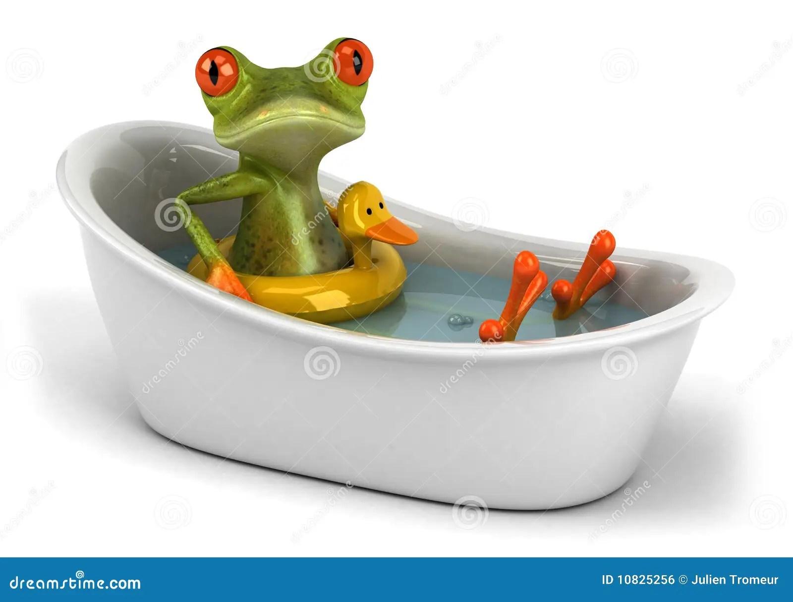 Cute Aqua Green Wallpaper Frog In A Bath Stock Illustration Image Of Illustration