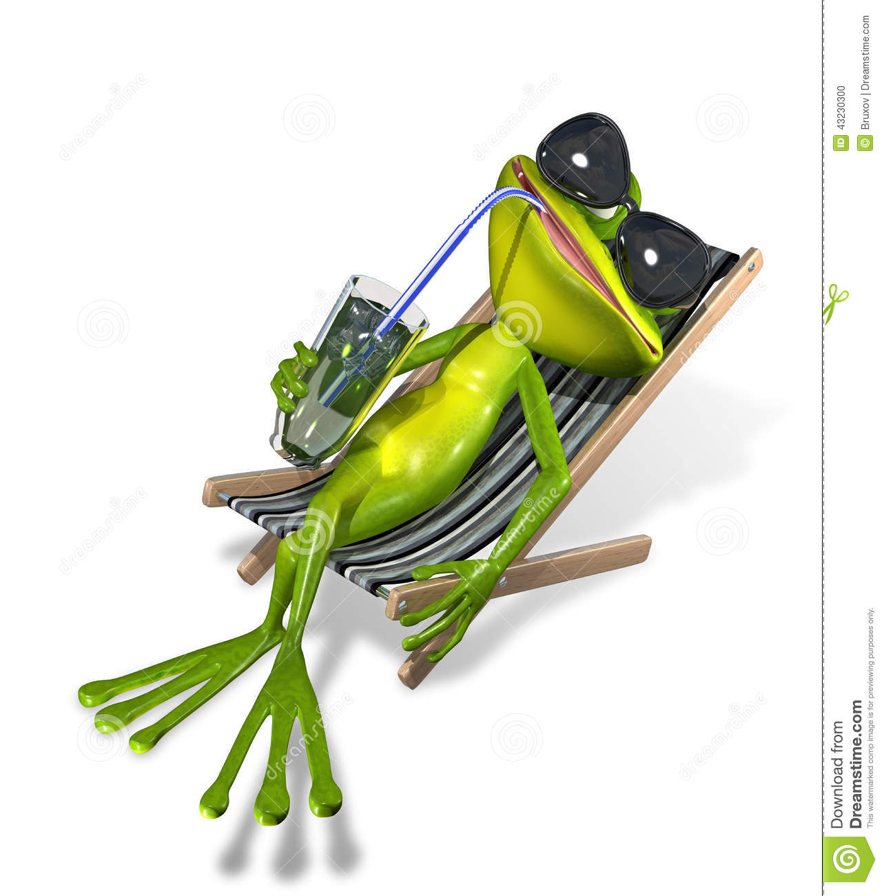 Clipart Liegestuhl Frog In A Deckchair Stock Illustration Image 43230300