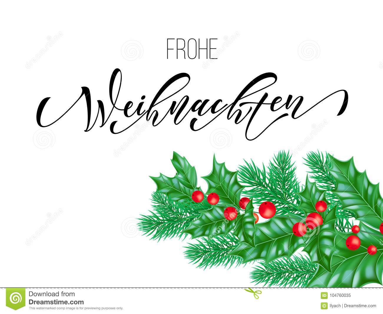 Design Weihnachten Frohe Weihnachten German Merry Christmas Calligraphy Font On White