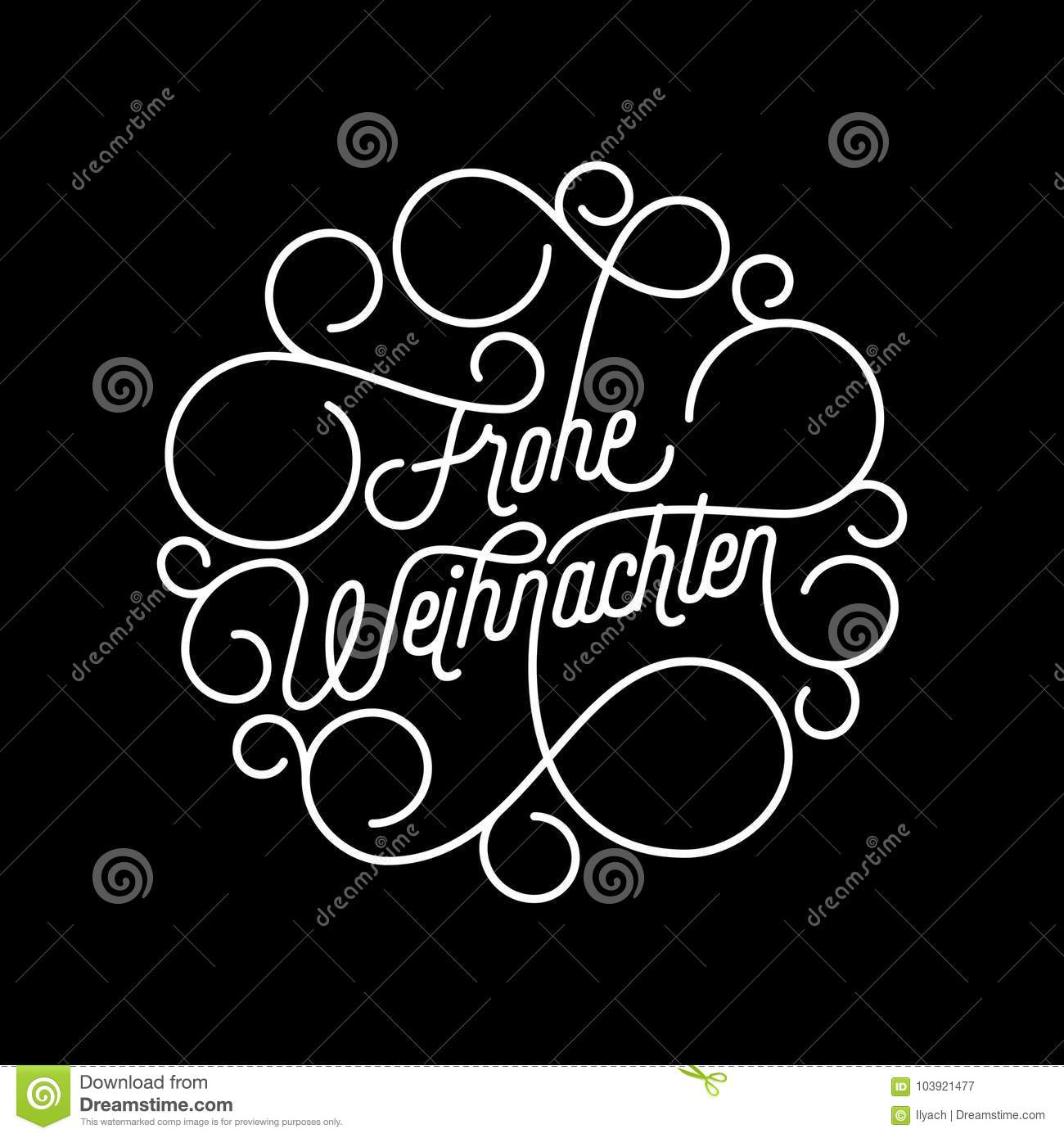Design Weihnachten Frohe Weihnachten German Merry Christmas Flourish Calligraphy