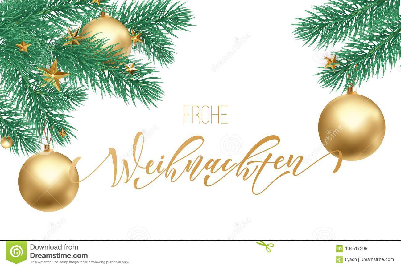Design Weihnachten Frohe Weihnachten German Merry Christmas Holiday Golden Hand Drawn