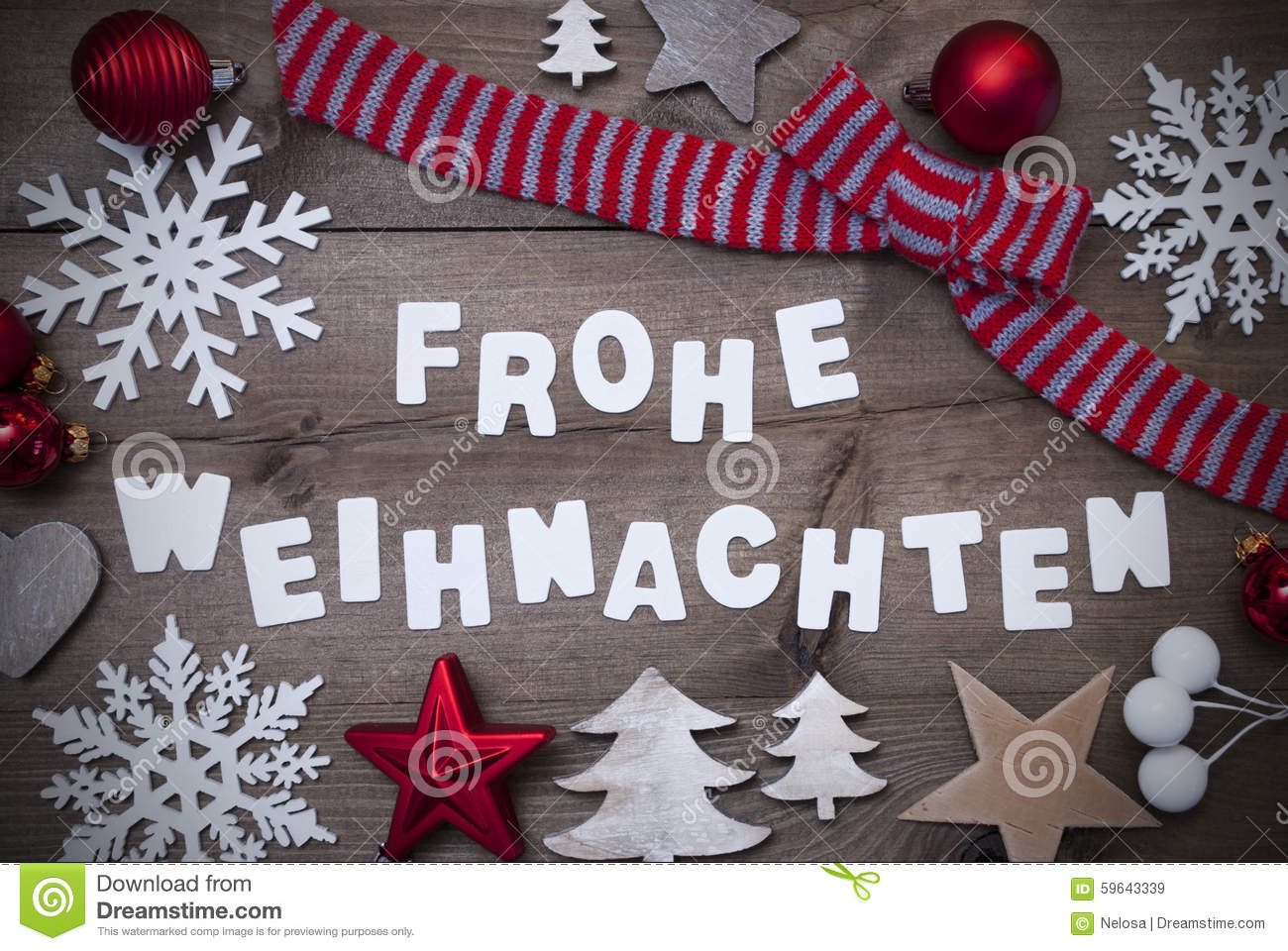 Frohe Weihnachten Frohe Weihnachten Mean Merry Christmas Red Loop Decoration Stock