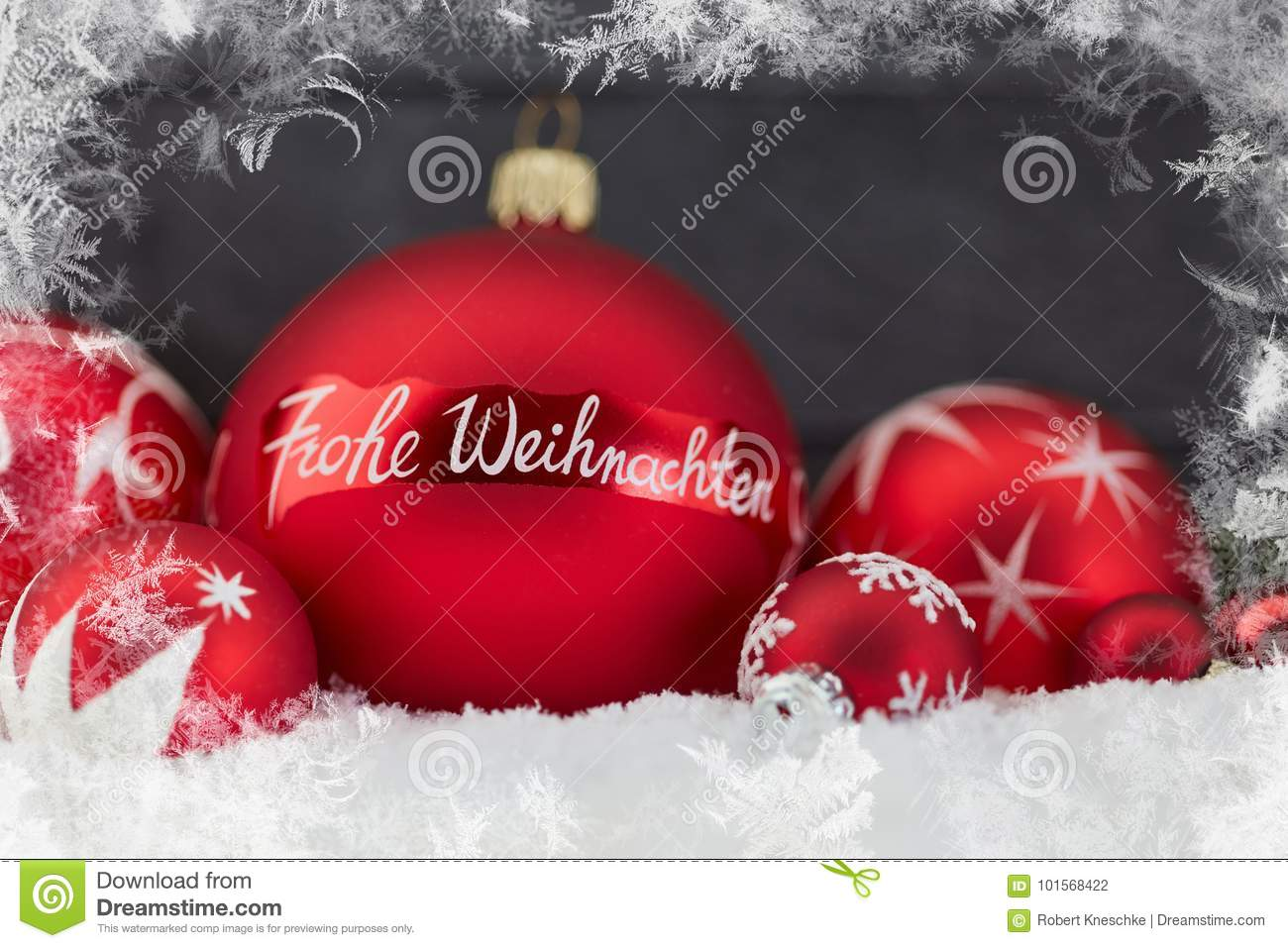 Frohe Weihnachten Frohe Weihnachten Merry Christmas Greeting Card Stock Photo
