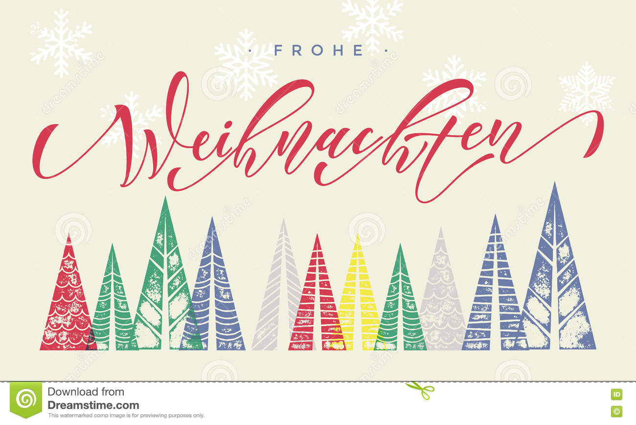 Design Weihnachten Frohe Weihnachten Winter Holiday German Greeting Card Text Stock