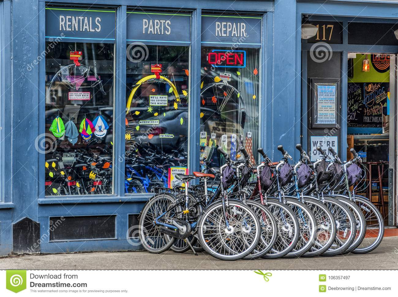 A Bike Store Front Of A Bike Shop In Portland Oregon Editorial Photography
