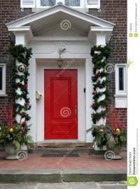 Front Door With Christmas Decorations Royalty Free Stock ...